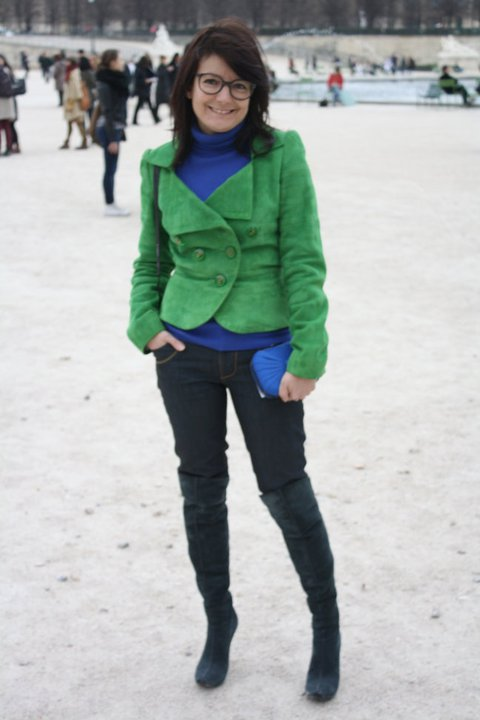 Veste Kenzo, pull Uniqlo, jeans Bonaventure vintage.
