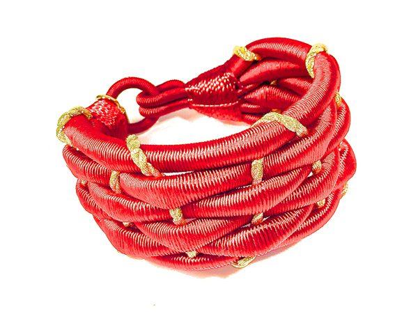 AMBER BY MAYFEZ - Bracelet soie passementerire rouge et or - 110€