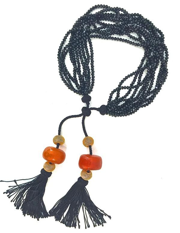 AMBER BY MAYFEZ - collier multirangs en soie agate noire et ambre - 300€