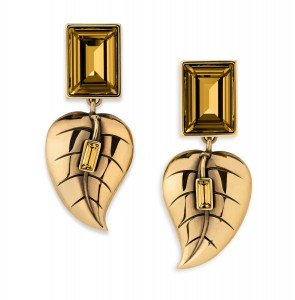 Atelier Swarovski by Sandy Powell Leaf Earrings - Gold