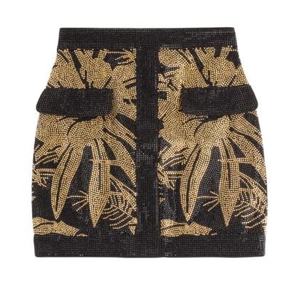 BALMAIN sur Stylebop.com - Mini-jupe en coton stretch brodée de perles - 1 485€