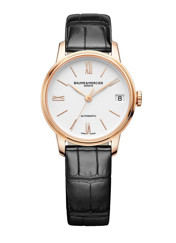 BAUME & MERCIER - Montre Classima en or rouge et bracelet Alligator noir - 4 800€