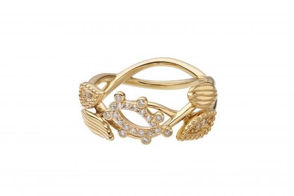 Bague Feuilles de Paradis en or jaune et diamants 1350Ôé¼ Didier Gue¦ürin