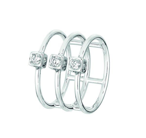 Bague Le Cube Diamant en or blanc et trois diamants 1990Ôé¼ dinh van