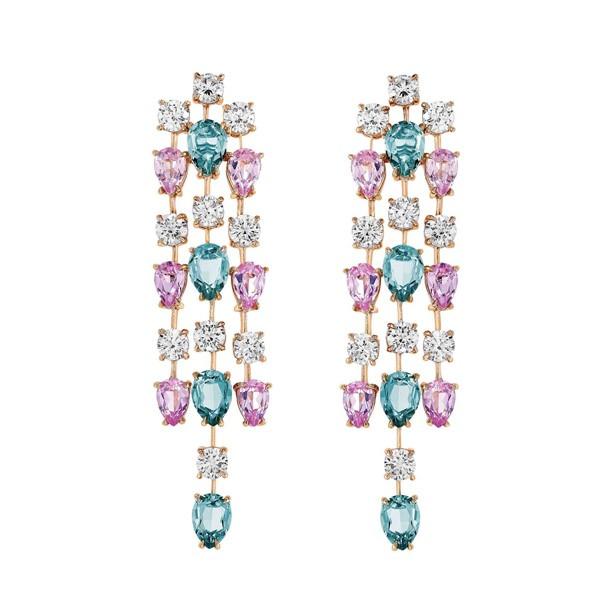 Boucles d'oreilles en vermeil rose et Burmalite blanche et multi pastels - 1.350Ôé¼ - Burma - copie