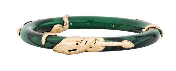 Bracelet Cobra en ac+®tate et m+®tal dor+® +á l'or fin 24 carats 130Ôé¼ Gas Bijoux