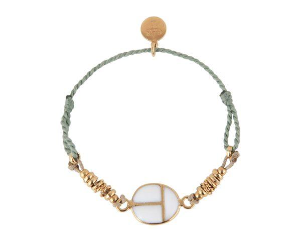 Bracelet Lien Scarabeo en métal doré à l'or fin et pâte de verre 80€ Gas Bijoux