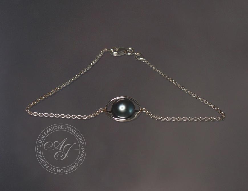 Bracelet OSIRIS or blanc perle noire bracelet chaine or blanc