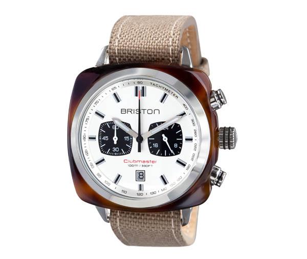 Briston_Chronographe Date boitier 42mm en acetate ecaille de tortue bracelet Sport en cuir canvas kaki_300Ôé¼ (1)