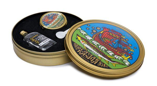CAVIAR KASPIA 5 Kit de survie (50g de caviar Baeri, Mignonette de vodka et cuillère en nacre) - 159€