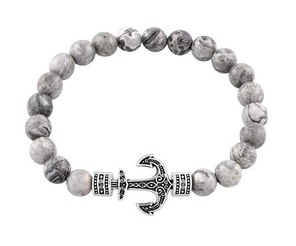 CLEOR - Bracelet Ancre acier et perles de jaspe - 29.90€