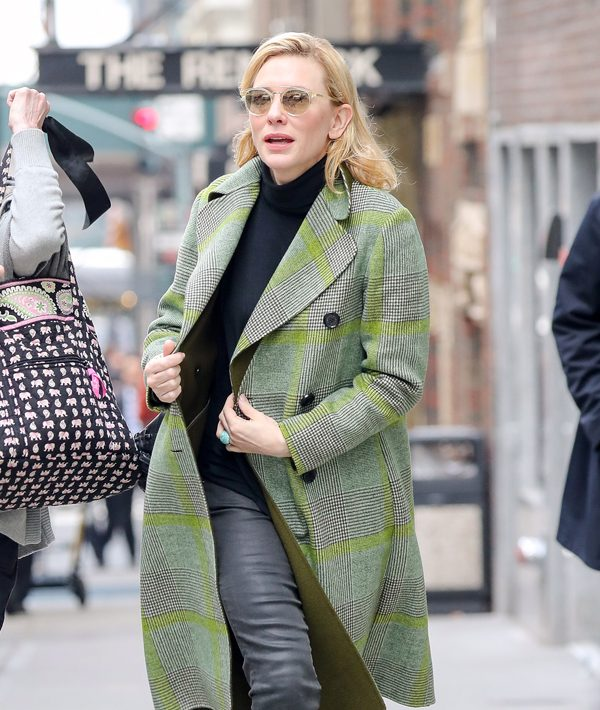 EXCLUSIVE: Cate Blanchett wore a green plaid jacket with a black turtleneck in New York City, while running some errands in Midtown Pictured: Cate Blanchett Ref: SPL1449703 230217 EXCLUSIVE Picture by: Felipe Ramales / Splash News Splash News and Pictures Los Angeles:310-821-2666 New York: 212-619-2666 London: 870-934-2666 photodesk@splashnews.com