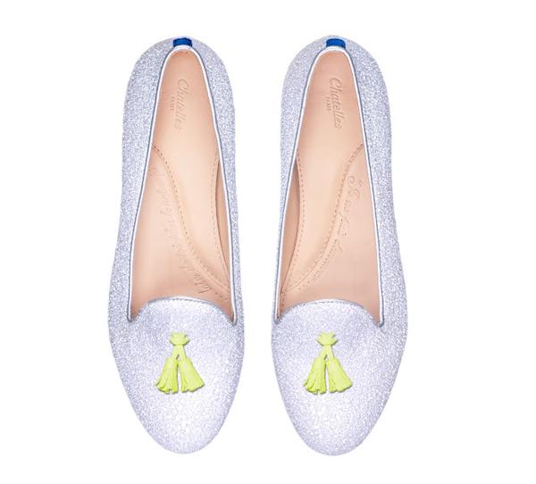 Chatelles Slippers - Paillettes Blanches et Pampilles Jaunes - 199€