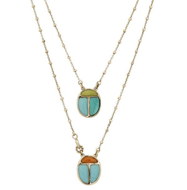 Collier Scapulaire en métal doré à l'or fin 24 carats et pâte de verre 190€ - Gas Bijoux 1