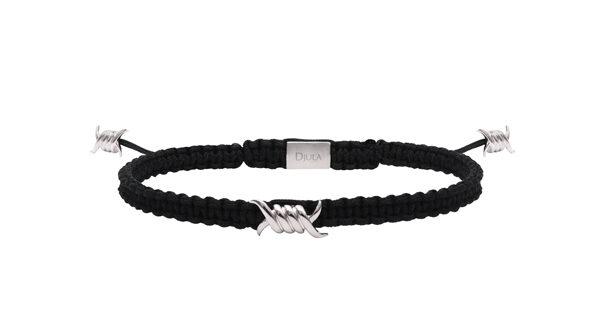 DJULA - Bracelet Barbelé argent et soie noire - 85€