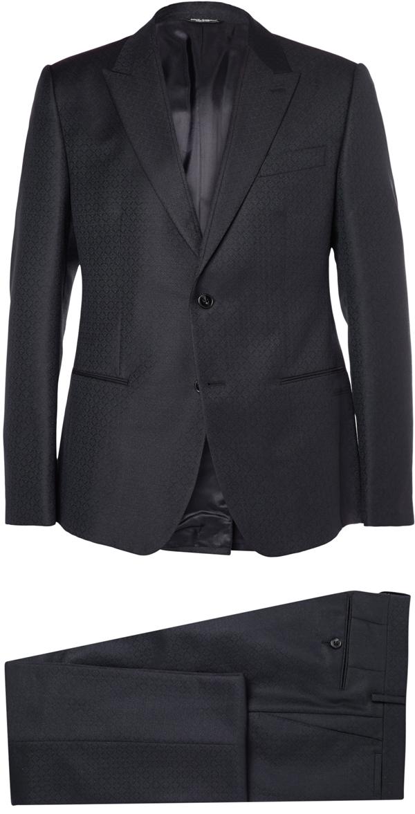 DOLCE GABBANA sur MrPorter.com - Costume 3 pièces en jacquard de laine et mohair 2 500€