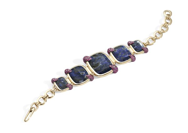 Denim Lapis Lazuli bracelet in rose gold with lapis lazuli and rubies 100% SUSTAINABLE by Pomellato