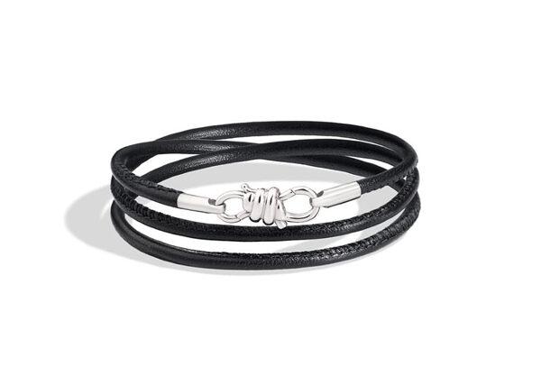 DoDo, Bracelet Nodo en or blanc 18 ct avec cordon en cuir noir - 490€