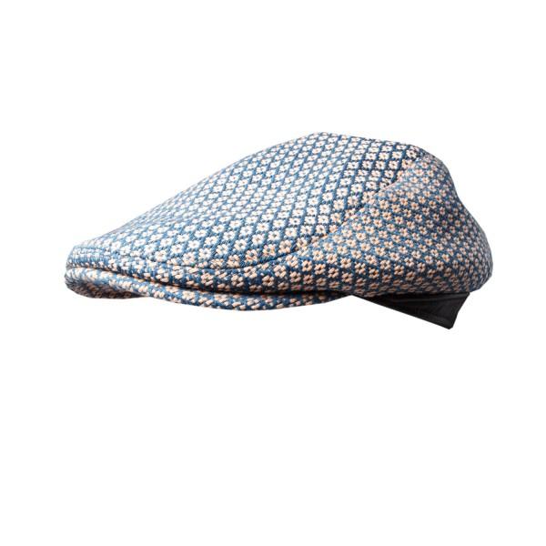 FASHIONDEALEUSE.COM - Casquette tissé fleurie coton bleu & ecru - 59€