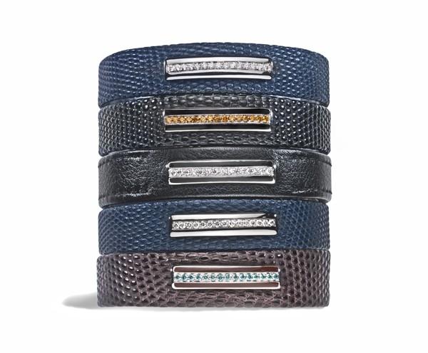 GEM'S FOR MEN - Bracelets en cuir, barrettes en or et diamants - Prix sur demande