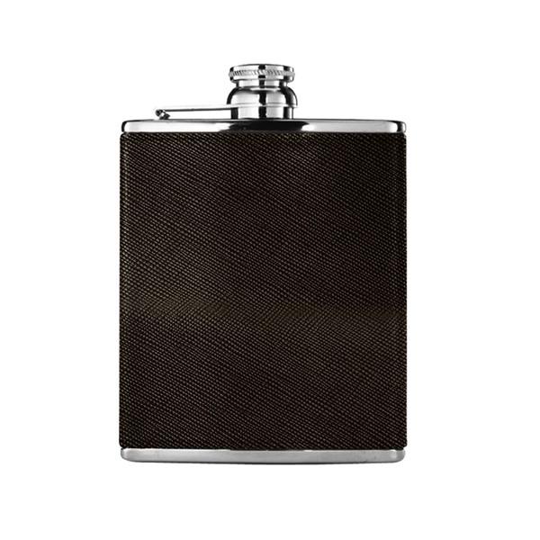 HACKETT - Flasque de voyage en cuir et métal argenté - 105€