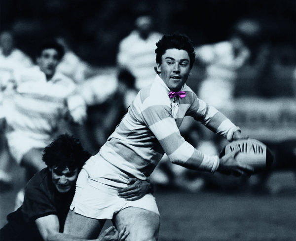 HIST RCF FM : Franck Mesnel en finale du championnat de France de rugby RCF-RCT 22 mai 1987. Elegant Racing player Franck Mesnel sporting a pink bow tie during the French rugby championships final game in May 22nd1987.