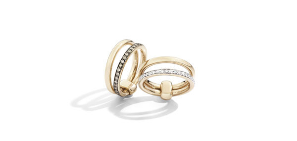 ICONICA rings in rose gold with diamonds and brown diamonds by Pomellato