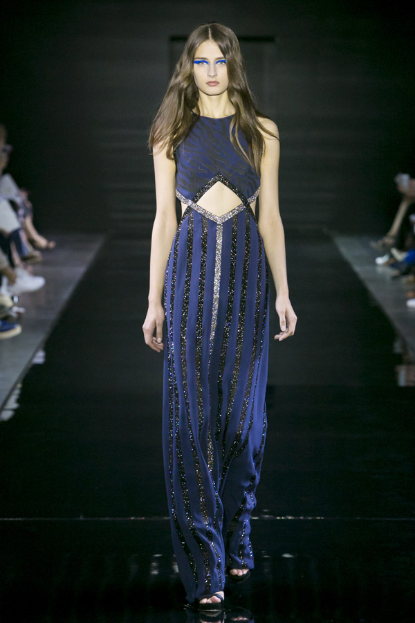 LORIS AZZARO - Robe longue bleue nuit incrustée de cristaux Swarovski - Prix sur demande