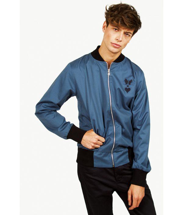 MISERICORDIA - Bomber léger bleu en coton - 149€