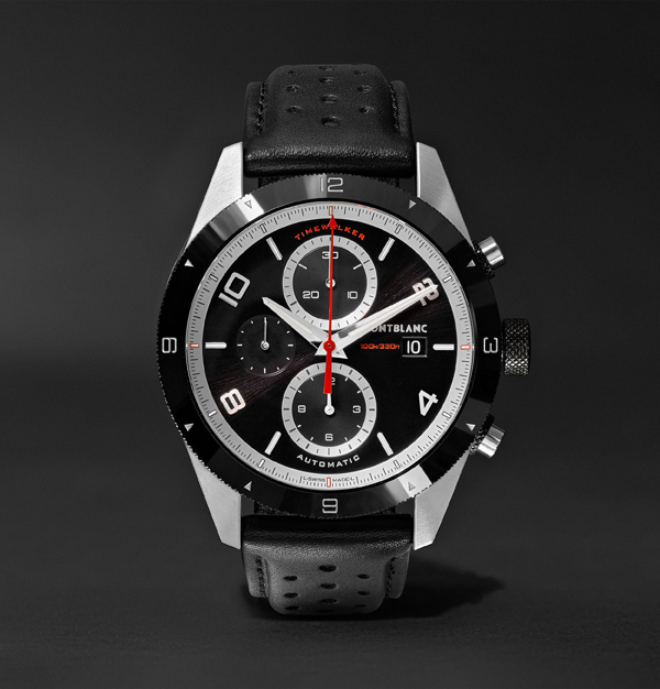 43mm Automatic Chronograph, Black Dial, Black ceramic bezel, Leather strap watch **STYLING - SPORTY/LUXURY CASUAL**
