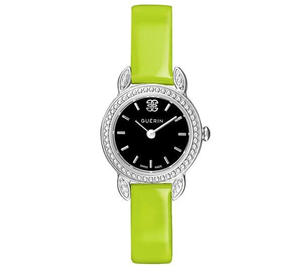 Montre L'Interchangeable Diamants de Ros+®e en cuir vernis vert, cadran acier 390Ôé¼ Gu+®rin Joaillerie copie