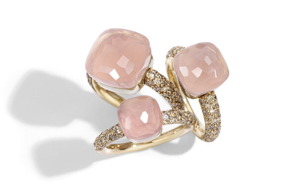 Nudo rings in rose gold with chalcedony, rose quartz and brown diamonds by Pomellato