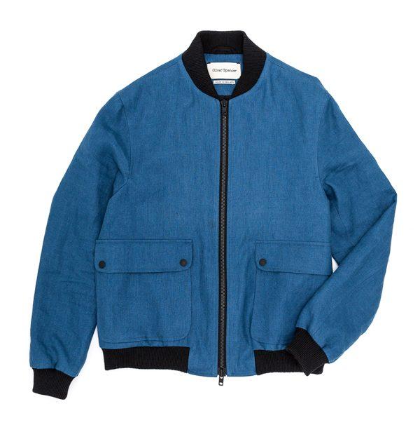 OLIVER SPENCER – Bomber en coton déperlant bleu – 440€