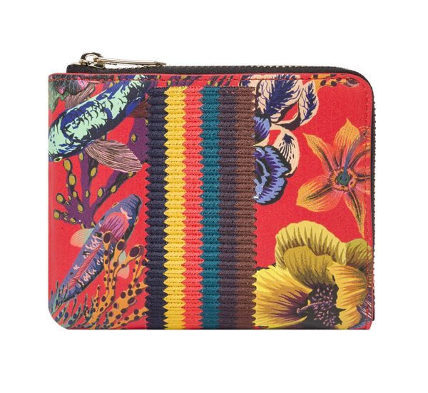 PAUL SMITH - Petit portefeuille zippé rouge en cuir d'agneau motif 'Ocean' - 255€