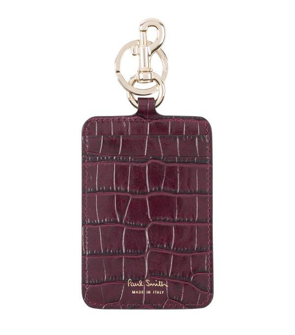 PAUL SMITH - Porte-cartes bordeaux en cuir effet crocodile - 155€