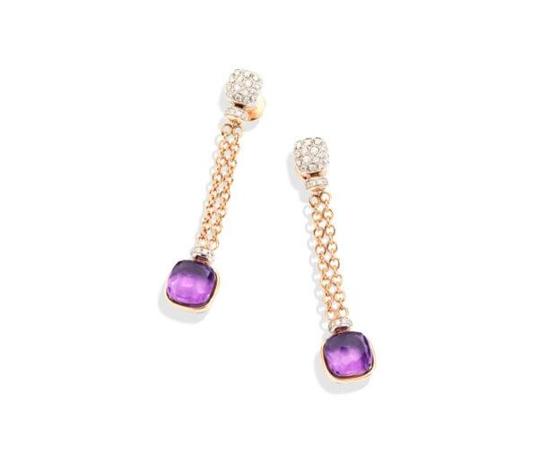Pomellato, Boucles d'oreilles Nudo en or rose, or blanc, diamants, et améthystes - 8 550€