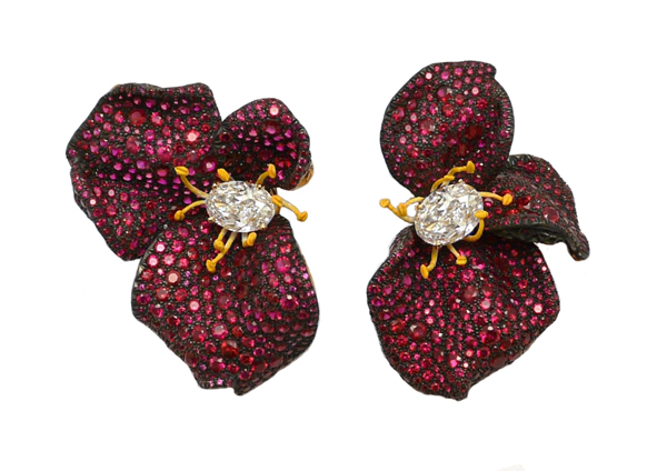 Ruby Rose Petal Earrings