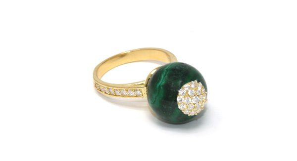 SARAH JANE WILDE - Malachite sphere ring diamond - 2 200€