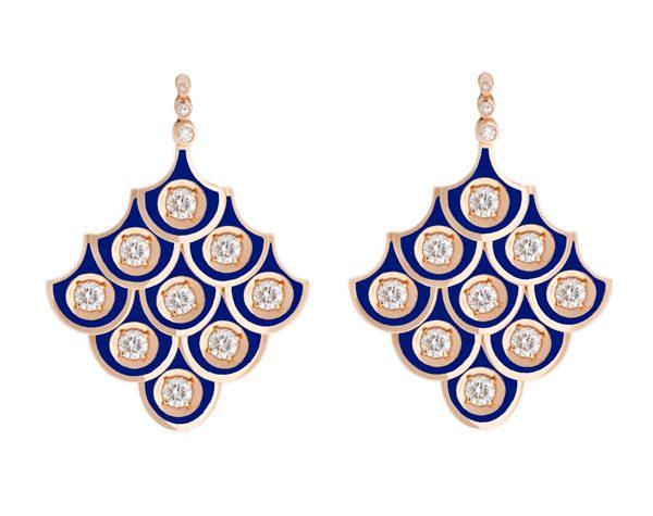 SELIM MOUZANNAR - Boucles d'oreille or rose en émail sertis diamants - 17 940€