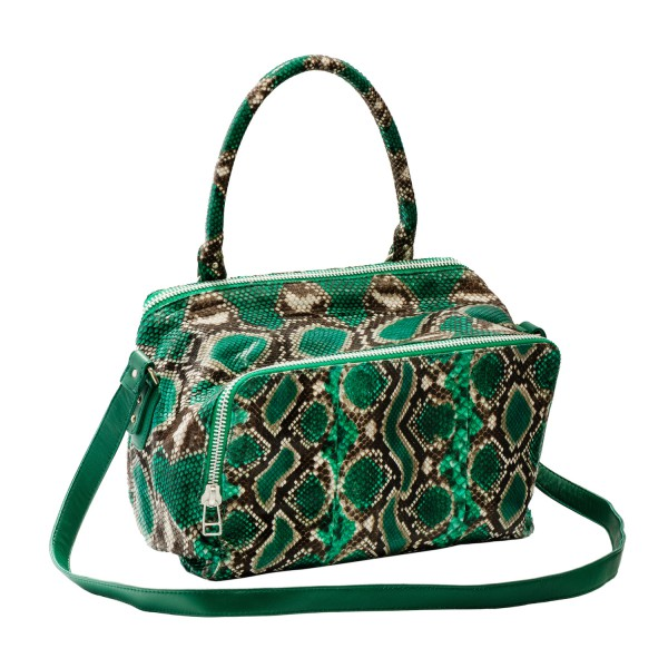 "Sac python ""Lalia"", coloris vert ""painted"", collection Claris Virot printemps-été 2016"