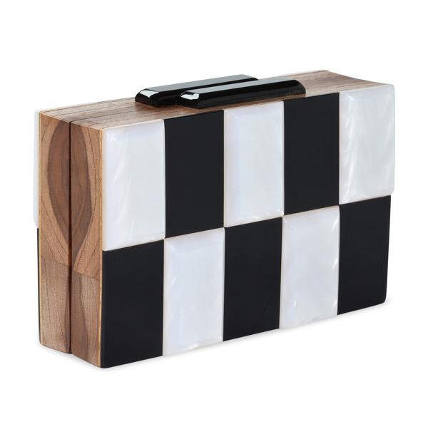 TALBOT RUNHOF - Clutch en bois et acrylic noir et blanc - 469€