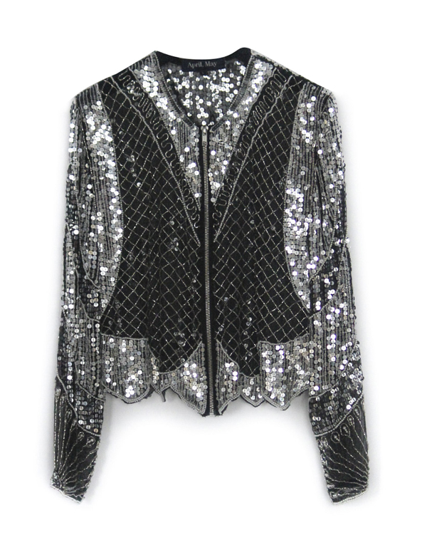 TOP MANCHES LONGUES TRANSPARENT NOIR À SEQUINS ARGENTS APRIL,MAY 267€