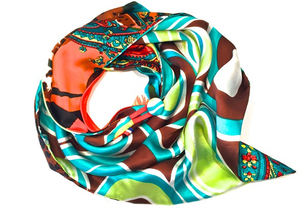 WE TWO - foulard parisien en soie multicolore bleu - 250€