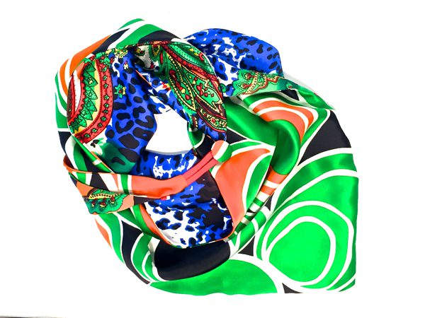 WE TWO - foulard parisien soie multicolore vert - 250€