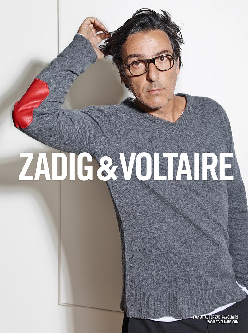 Visuel campagne Zadig & Voltaire avec Yvan Attal, automne-hiver 2015-2016