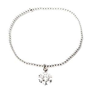 bracelet elastique-boule argent-flocon-38e