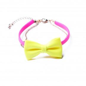 bracelet noeud-jaune et rose fluo-14,95e