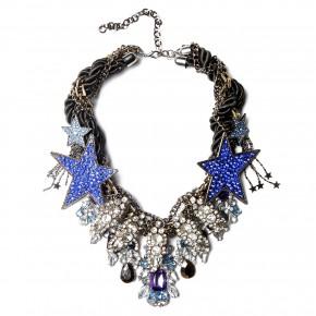 collier plastron strass  etoiles bleues - 195e