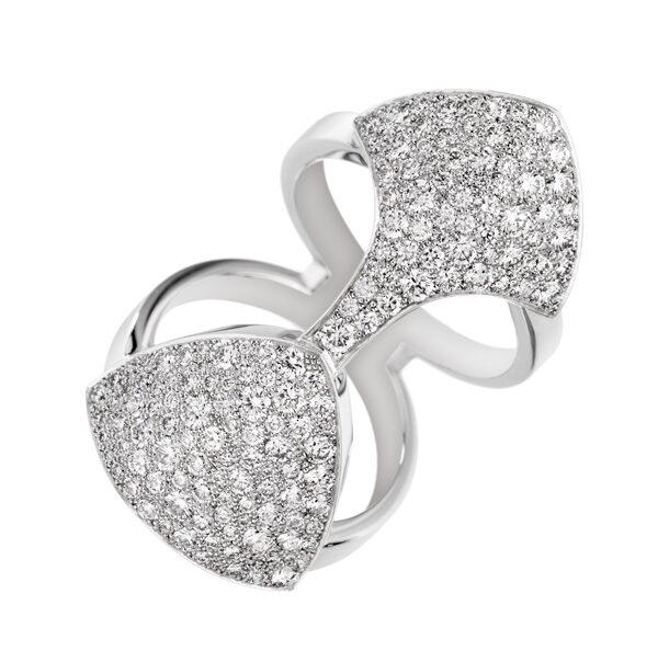 AKILLIS - Bague Python or blanc et diamants - 9 480€