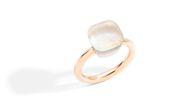 NUDO GELE' ring in rose gold with white topaz, mother of pearl by Pomellato